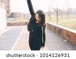 young beautiful woman outdoor... | Shutterstock . vector #1014126931