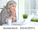 emotional senior woman with... | Shutterstock . vector #1014129571