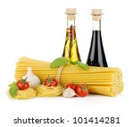 Pasta, tomatoes, basil, olive oil, vinegar and garlic. Isolated on white background - stock photo