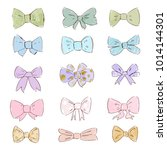 bow vector collection. trendy... | Shutterstock .eps vector #1014144301