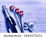 valentine's day. champagne ... | Shutterstock . vector #1014172171