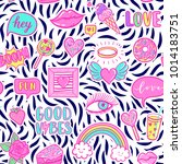 vector fashion fun patches... | Shutterstock .eps vector #1014183751