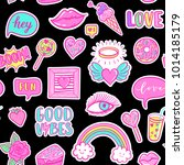 vector fashion fun patches... | Shutterstock .eps vector #1014185179