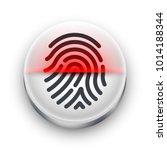 fingerprint scanner icon. white ... | Shutterstock .eps vector #1014188344