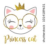 Stock vector cute princess cat with a glitter crown 1014189631