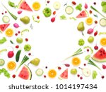 frame of various vegetables and ... | Shutterstock . vector #1014197434