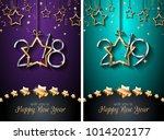 2018  2019 happy new year... | Shutterstock . vector #1014202177