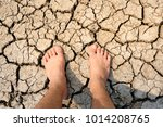 foot on dry cracked earth.... | Shutterstock . vector #1014208765