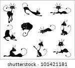 black and white figures of cats ... | Shutterstock .eps vector #101421181