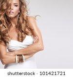 portrait of beautiful blonde... | Shutterstock . vector #101421721