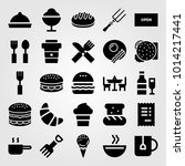 restaurant vector icon set.... | Shutterstock .eps vector #1014217441