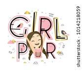 girl power. cute vector...   Shutterstock .eps vector #1014218059