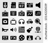 multimedia vector icon set.... | Shutterstock .eps vector #1014220039