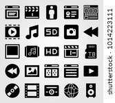 multimedia vector icon set.... | Shutterstock .eps vector #1014223111