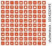 100 farm icons set in grunge... | Shutterstock .eps vector #1014232495