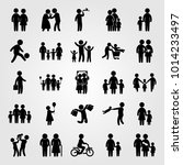 humans vector icon set. mom ... | Shutterstock .eps vector #1014233497