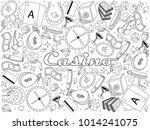 casino line art design raster... | Shutterstock . vector #1014241075