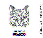 glitch effect cat logo. vector... | Shutterstock .eps vector #1014246901