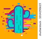 cactus in the desert  modern... | Shutterstock .eps vector #1014250615