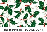 holly leaves and berries ornate ... | Shutterstock .eps vector #1014270274