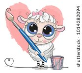 Cute Cartoon Sheep With Brush...