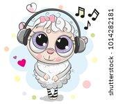 cute cartoon sheep with big... | Shutterstock .eps vector #1014282181