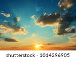 bright sunset onblue sky with... | Shutterstock . vector #1014296905