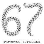 braids font. alphabet made from ... | Shutterstock .eps vector #1014306331