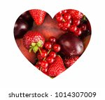 berries in heart shape isolated ... | Shutterstock . vector #1014307009