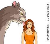 cat licks the girl pop art... | Shutterstock .eps vector #1014314515