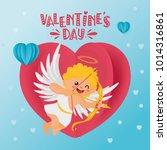 romantic greeting card. hand... | Shutterstock .eps vector #1014316861