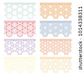 Set of colorful seamless borders, line patterns. Tribal ethnic arabic, indian decorative ornaments, fashion lace collection. Isolated design elements for headline, banners, wedding invitation cards