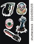 vector set of horror stickers... | Shutterstock .eps vector #1014350155