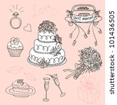 cute wedding doodles | Shutterstock .eps vector #101436505
