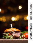 burger with beef on wooden... | Shutterstock . vector #1014370009