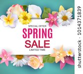 spring sale cute background... | Shutterstock .eps vector #1014371839