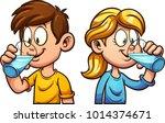 cute cartoon boy and girl...   Shutterstock .eps vector #1014374671