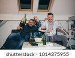 group of friends watching sport ... | Shutterstock . vector #1014375955
