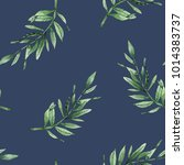 leaves branches watercolor... | Shutterstock . vector #1014383737