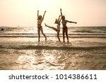 three sexy young girls having... | Shutterstock . vector #1014386611