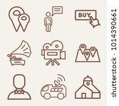set of 9 technology outline... | Shutterstock .eps vector #1014390661