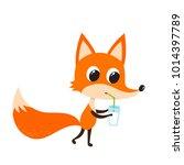 vector set of cartoon funny fox ... | Shutterstock .eps vector #1014397789