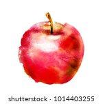 watercolor apple on white | Shutterstock . vector #1014403255