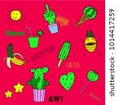set of doodle cactus  vector... | Shutterstock .eps vector #1014417259