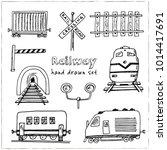 railway hand drawn doodle set.... | Shutterstock .eps vector #1014417691