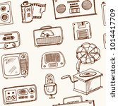 retro technology hand drawn... | Shutterstock .eps vector #1014417709