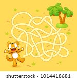 help tiger cub find path to... | Shutterstock .eps vector #1014418681