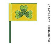 green flag with clover symbol | Shutterstock .eps vector #1014419527