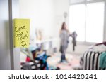 messy room with teenage girl | Shutterstock . vector #1014420241