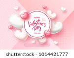Stock vector festive card for happy valentine s day background with realistic hearts confetti vector 1014421777